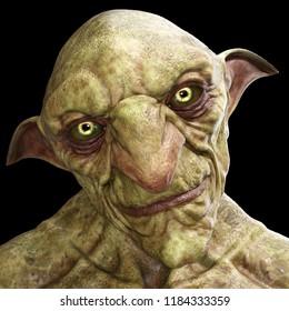 3d rendering green goblin portrait isolated