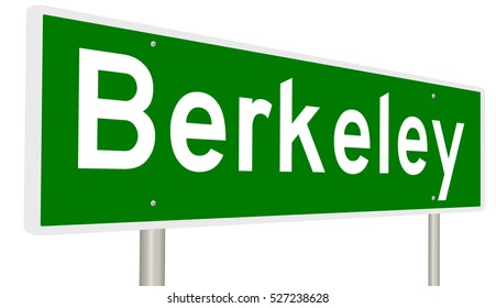 A 3d rendering of a green highway sign for Berkeley, California