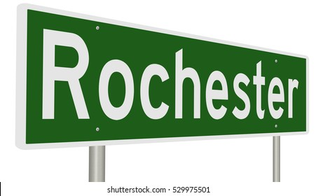 A 3d rendering of a green highway sign for Rochester