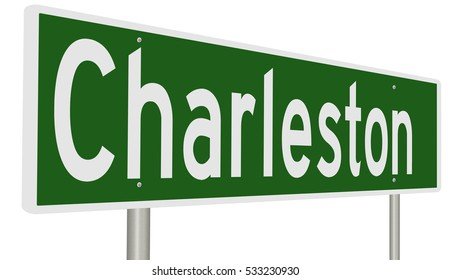 A 3d rendering of a green highway sign for Charleston