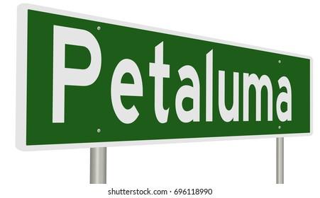 A 3d rendering of a green highway sign for Petaluma California