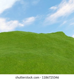 3D rendering of green hills and cloudy sky