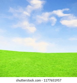 3d rendering of green meadow landscape with cloudy sky in impasto style