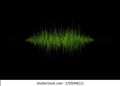 3d rendering green sound wave illustration