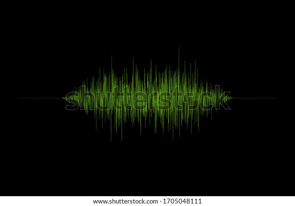 3d rendering green sound wave illustration