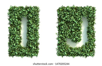 3d rendering of green wall alphabet