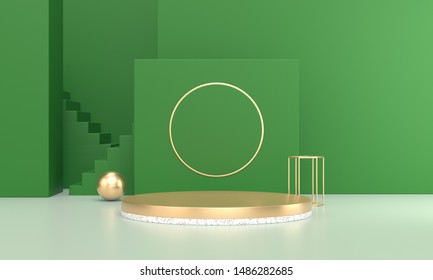 3D rendering of green and white geometric background, can be used to promote poster advertising
