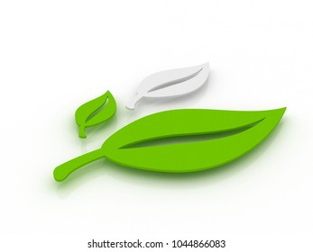 3D rendering green and white leaves