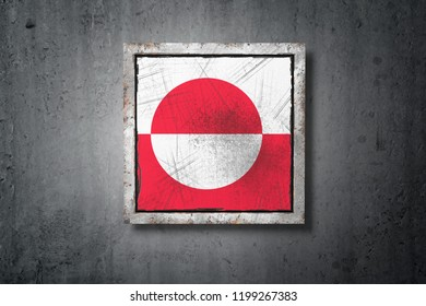 3d rendering of a Greenland flag in a concrete wall