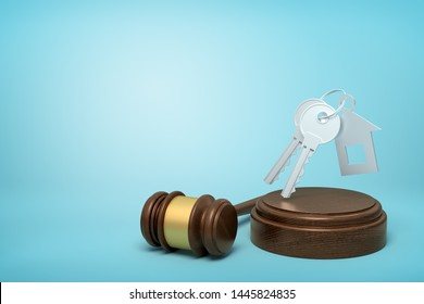 3d rendering of grey keys with house-shaped fob levitating in air above wooden sounding block with gavel beside on light-blue background. Family law. Divorce trial. Division of property.