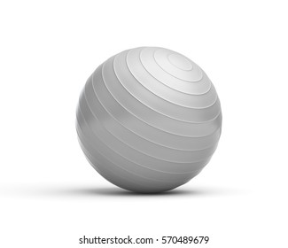 3d rendering of a grey ridged exercise ball isolated on white background. Swiss ball for fitness. Yoga and stability training. Fitness and health.