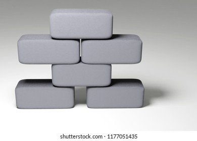 3d rendering of grey staple of brick stones isolated on white background