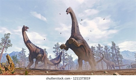 A 3D rendering of a group of Alamosaurus being social.