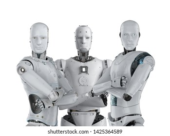 3d rendering group of artificial intelligence robot for teamwork