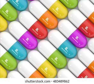 3d rendering of group B vitamin pills over white background