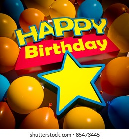 3D rendering of a group of balloons and the words happy birthday and a star to insert a number