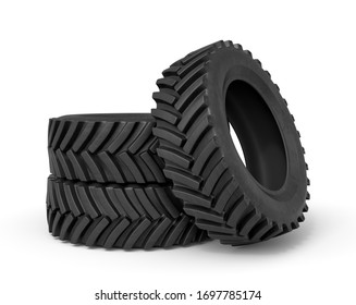 3d rendering of group of black tractor wheels isolated on white background. Tires and wheels. Automobile parts. Digital art.