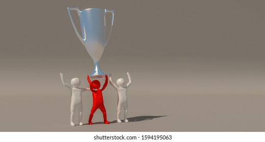 3d rendering, A group of characters who have received a silver trophy