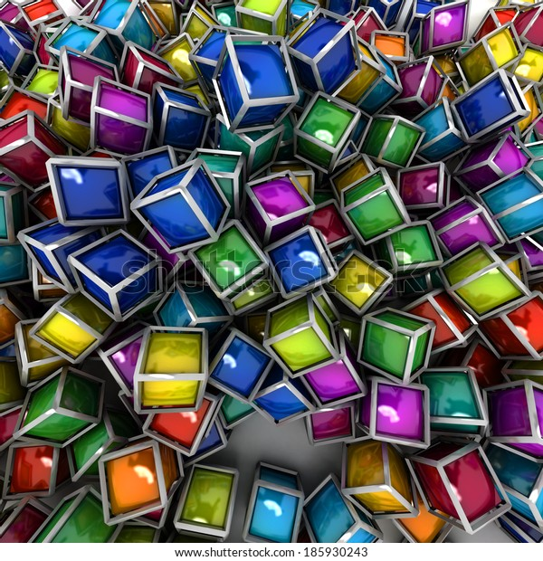3D rendering of a Group of colorful cubic shapes