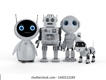 3d rendering group of friendly robots on white background