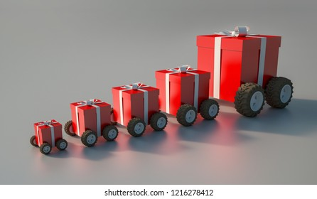 3D rendering of a group of gift boxes with wheels