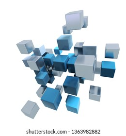 3D rendering of a group of metallic cubic shapes in chrome