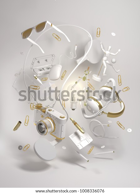 3d rendering group objects flying around light bulb. Creativity concept, thinking and get bright idea.  Gold and light monochrome elements on white background.