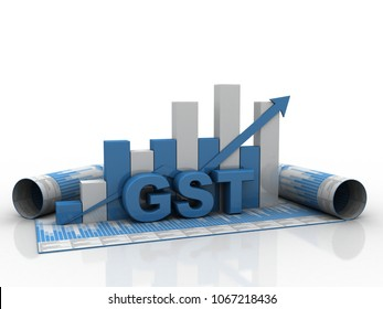 3d rendering GST Tax India with graph