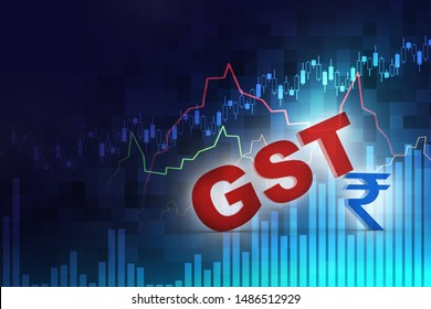 3d rendering GST Tax India with rupee sign