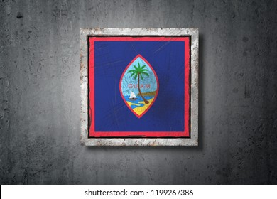3d rendering of a Guam flag in a concrete wall