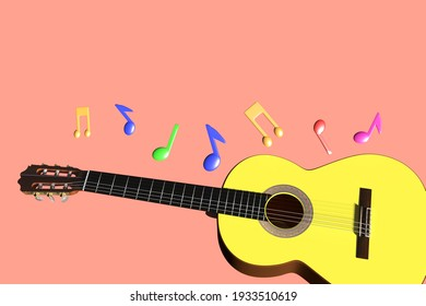 3d rendering guitar and note.backround pink