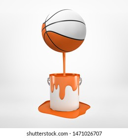 3d rendering of half-colored basketball that's been dipped in orange paint and is floating in air, paint dripping down, on light background. Sports equipment. Active games. Creative design.