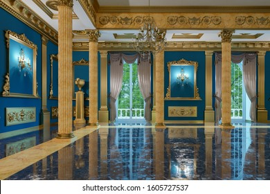 3D rendering of the hall in classical style