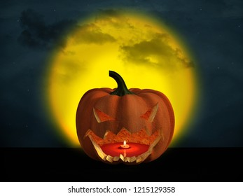 3D rendering of a halloween pumpkin at night with a big yellow moon in the background and a starry cloudy sky.