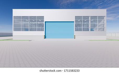 3d rendering of hangar building exterior and shutter door and paver brick floor.