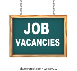 3d rendering of hanging wooden signboard banner of concept of job vacancies