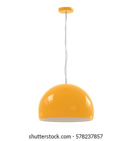 3d rendering hanging yellow pendant lamp isolated on white