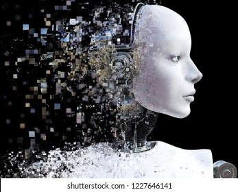 3D rendering of the head of a female robot. The head is breaking apart into pixels or windows. Black background.