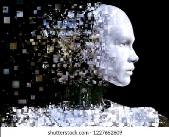 3D rendering of the head of a male robot. The head is breaking apart into pixels or windows. Black background.