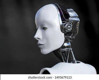 3D rendering head portrait of a female robot looking sad or serious. Dark background.