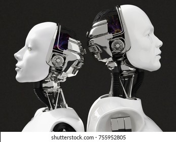 3D rendering of the heads of a female and male robot. They have their heads turned away from each other, standing back to back. Black background.