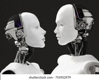 3D rendering of the heads of a female and male robot. They are looking at each other. Black background.