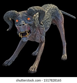 3d rendering heal goat dog with horn  with glowing red eyes isolated