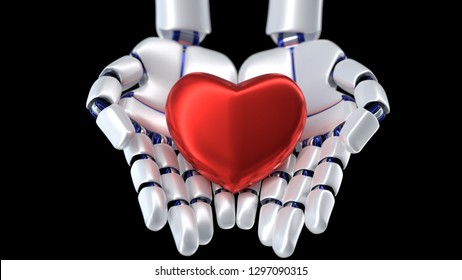 3D rendering of heart beating in robot hands