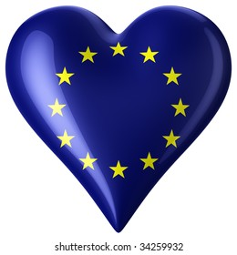 3d rendering of a heart with european flag