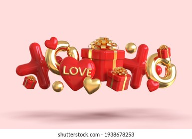 3D rendering of heart, gift boxes, ballons and xoxo symbol. Happy valentine's day concept with 3d romantic creative composition on pink background