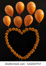 3D rendering of a heart of orange carnations with orange balloons over. Black background.