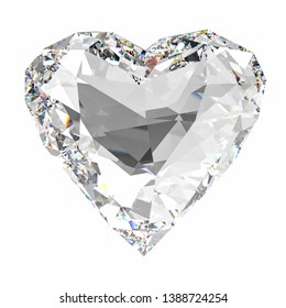 3d rendering heart shape diamond isolated on white
