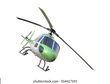 3D rendering of a helicopter isolated on white background