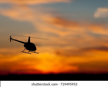 3D rendering of helicopter at sunset